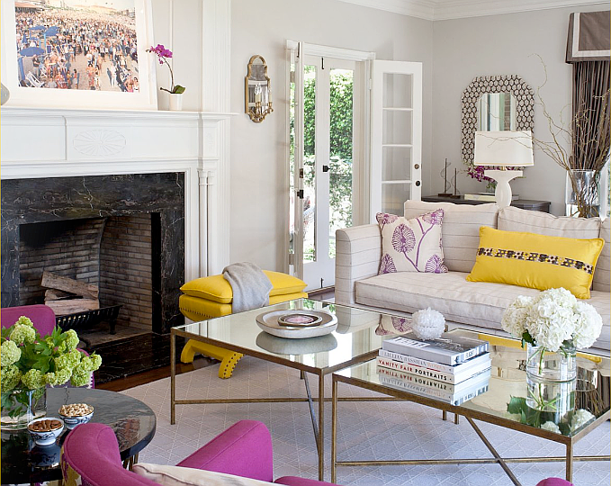 Beautiful Living Room With Jewel Tone Color Palette