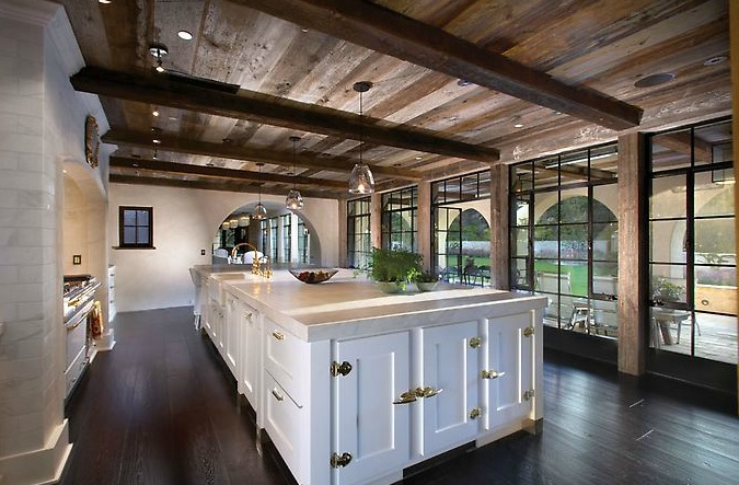 Wood beam kitchen ceiling design ideas for Wood floor and ceiling