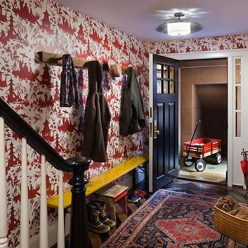 Red Toile Wallpaper, Eclectic, entrance/foyer, CWB Architects