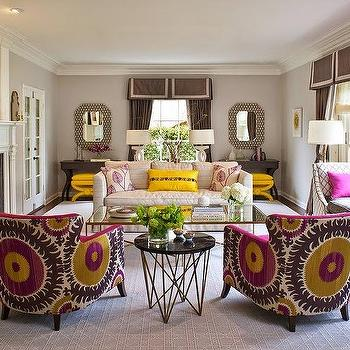 Donghia Suzani in Pink Passion, Contemporary, living room, Massucco Warner Miller