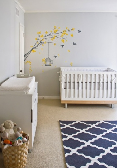 Gray And Blue Nursery Contemporary Nursery Turquoise La