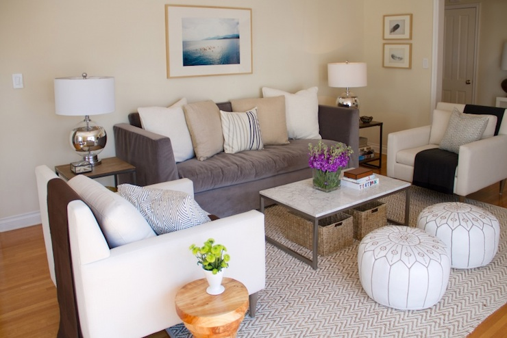 Gray high back sofa transitional living room - Ivory painted living room furniture ...