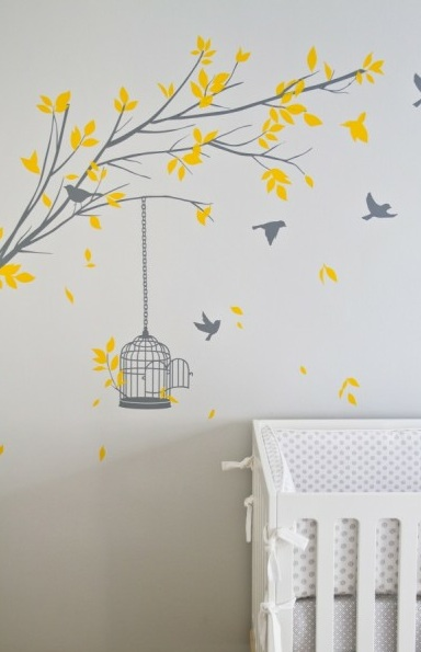 Adorable Yellow Gray Tree Branch Wall Stencil And White Crib
