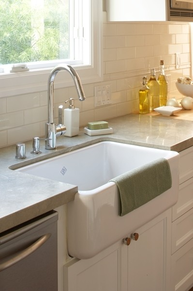 Countertop Kitchen Sink : ... sink, white flat panel kitchen cabinets, gray quartz countertops and