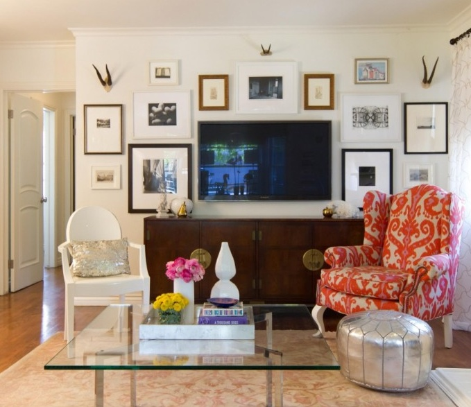 Wall Art Behind Flat Screen Tv : How to hide flatscreen eclectic living room turquoise la