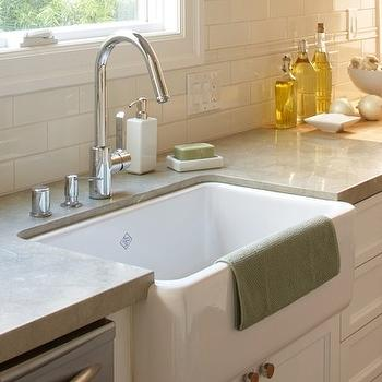 White Porcelain Farmhouse Kitchen Sink : kitchen with white porcelain farmhouse sink, white flat panel kitchen ...