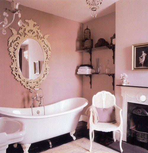 Adorable And Romantic Pink Bathroom