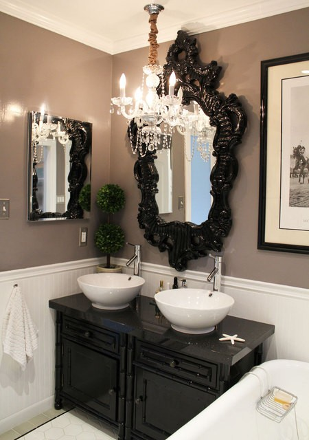 Black and white bathroom design ideas for Modern chic bathroom designs