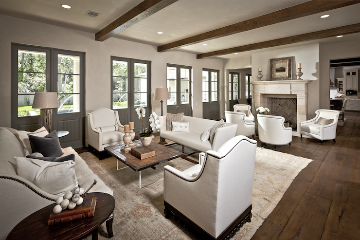Gray French Doors Transitional Living Room The Owen