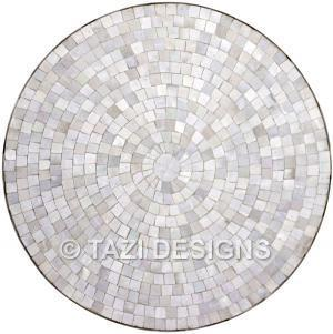 Round Dining Table White Moroccan Mosaic Tables