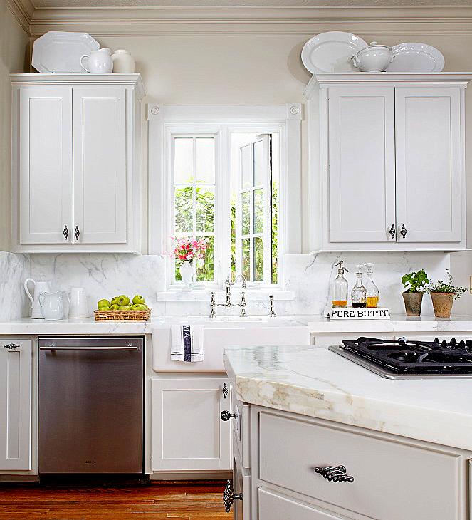 kitchen design with French windows, gray kitchen cabinets & kitchen