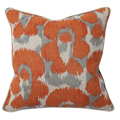 African Mod Leopard Print Orange Pillow