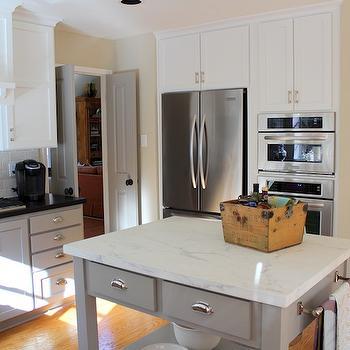 Calcutta Ora Marble, Transitional, kitchen, Benjamin Moore Rockport Gray, Cote de Texas