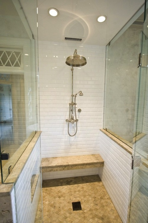 White Stone Subway Tile In Shower - Design, decor, photos ...