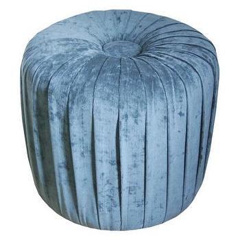 Velvet Pleated Ottoman Stool Mermaid Blue : Target