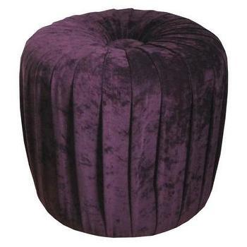 Velvet Pleated Ottoman Stool Aubergine Purple : Target