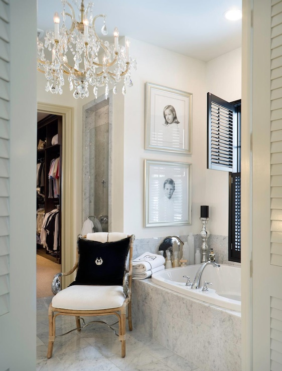 Beau Marble Bathroom With Marble Tiles Floor, Glossy Black Shutters And Crystal  Chandelier.