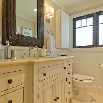 Beige Paint Colors, Cottage, bathroom, Sherwin Williams Accessible Beige, Regan Baker Design