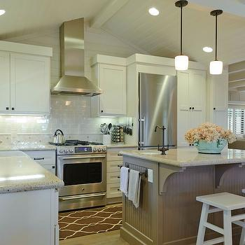 Beadboard Kitchen Island, Transitional, kitchen, Sherwin Williams Accessible Beige, Regan Baker Design