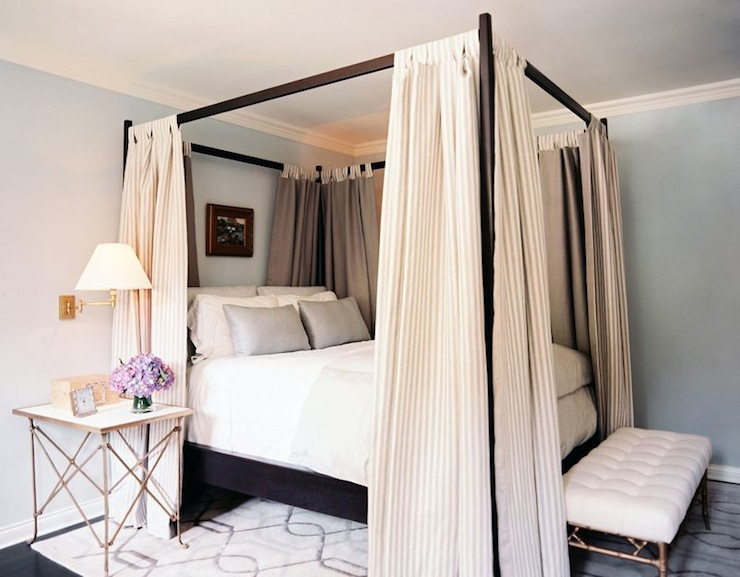 Black canopy bed transitional bedroom lonny magazine - Four poster bed curtains ...