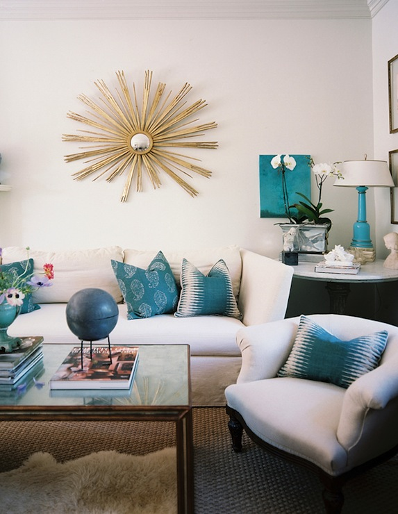 Turquoise blue sofa design ideas for Turquoise and white living room ideas