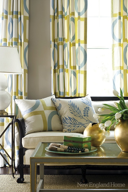 Yellow And Blue Curtains Design Ideas