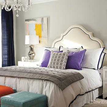 Teal Ottomans, Contemporary, bedroom, New England Home