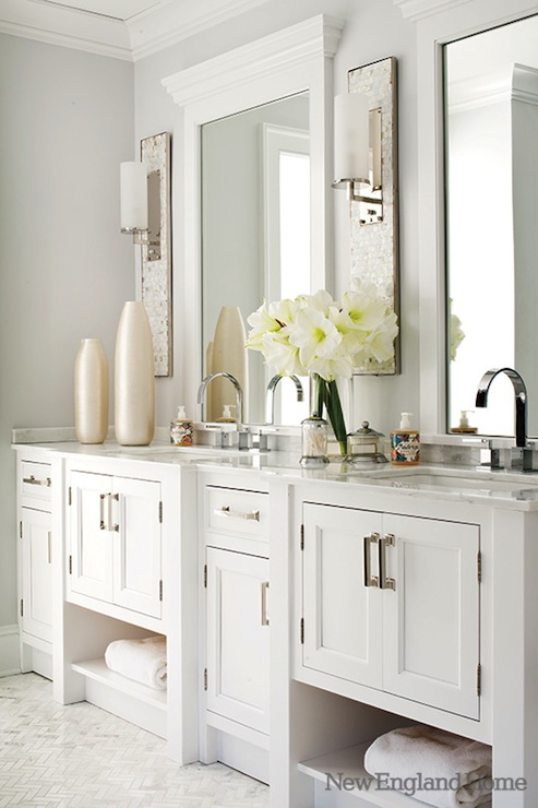 White Double Vanity Traditional Bathroom New England