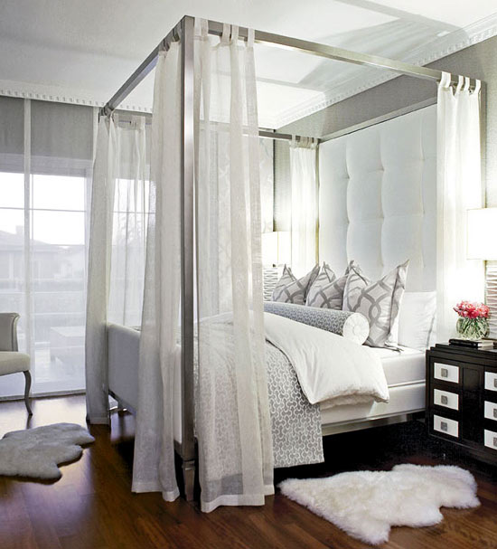 - Gorgeous gray bedroom with gray wallpaper, metal canopy bed, white ...