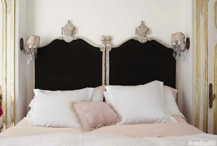 black velvet headboard french bedroom house beautiful