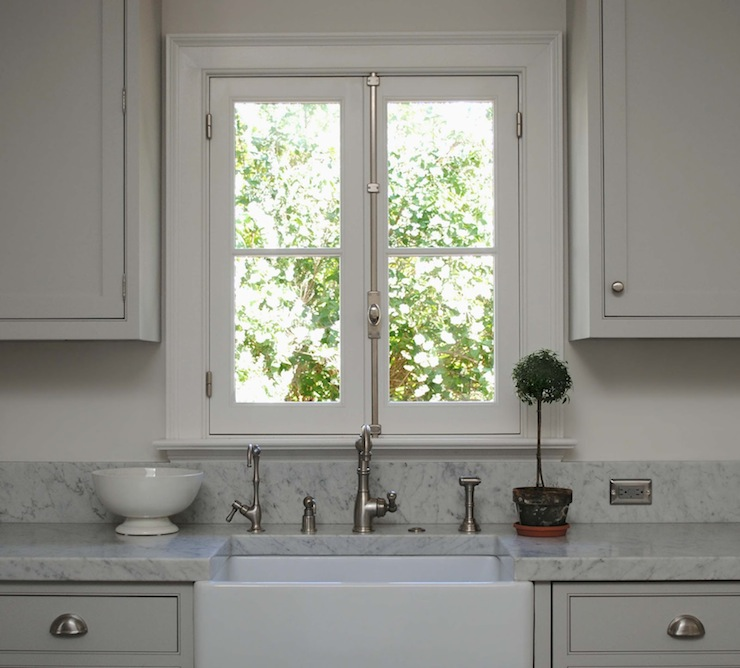 light gray shaker kitchen cabinets, white carrara marble countertops