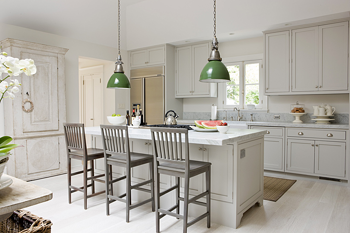 gray & green kitchen with light gray shaker kitchen cabinets & kitche