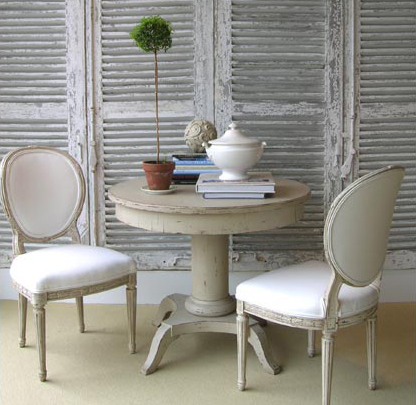 Tone on Tone - Simply Gorgeous: Vintage round pedestal table, French chairs,  antique shutters screens and topiary. - Vintage Curved Back Dining Chairs Design Ideas