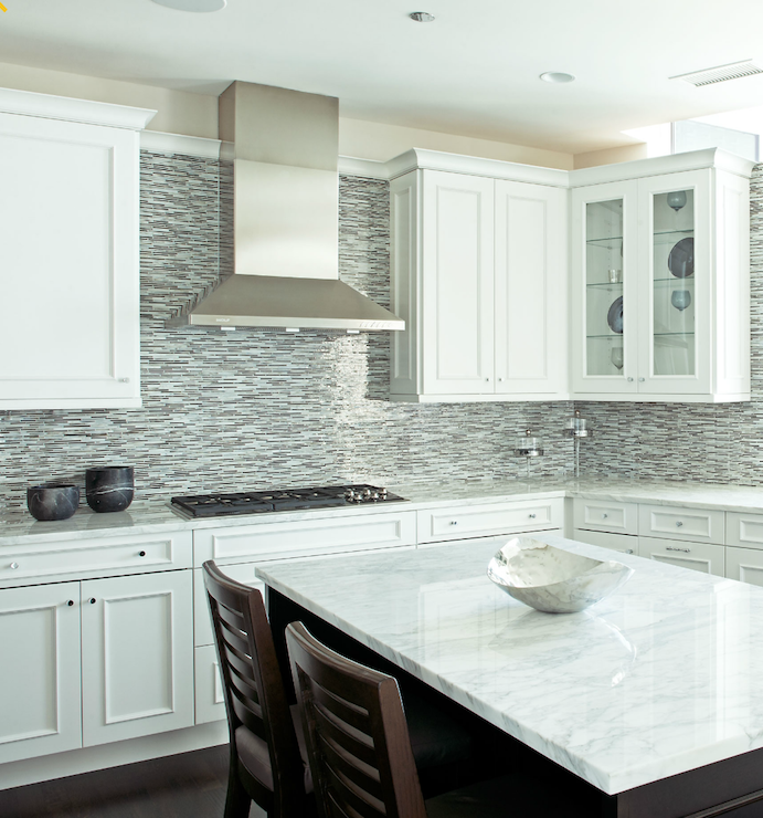 White kitchen cabinets blue mosaic backsplash design ideas