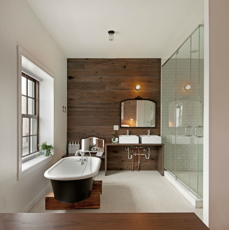 Wood Plank Accent Wall Contemporary Bathroom Anthony