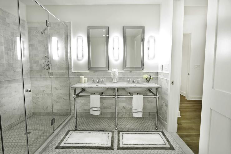 Italian Carrera Marble Transitional Bathroom