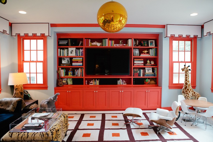 Red Built In Cabinets