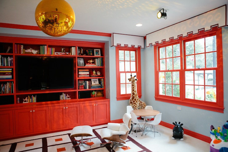 Red Built Ins Contemporary Media Room Peppermint Bliss