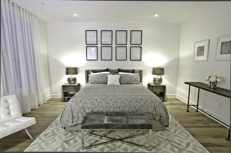 Silver Bedding Contemporary Bedroom Benjamin Moore