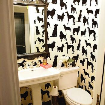Best in Show Wallpaper, Eclectic, bathroom, Peppermint Bliss