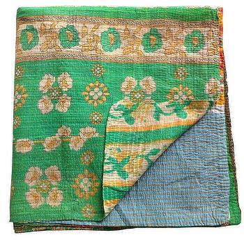 Kantha Quilt, Green, Shoppe by Amber Interior Design