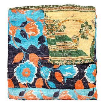 Kantha Quilt, Blue & Orange, Shoppe by Amber Interior Design