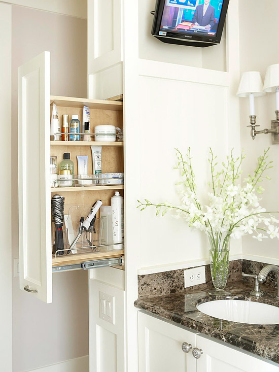 Pull out bathroom cabinets transitional bathroom bhg for Bathroom storage ideas