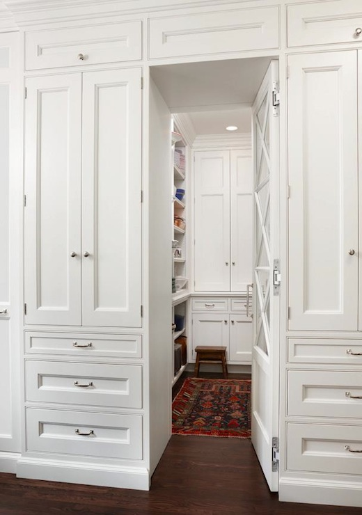 Walk In Kitchen Pantry Hidden Behind Cabinet Doors Transitional