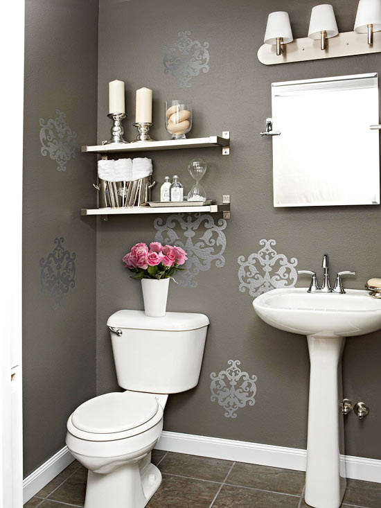 gray powder room contemporary bathroom bhg. Black Bedroom Furniture Sets. Home Design Ideas