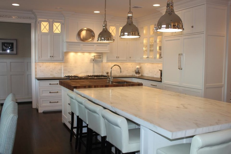 Modern White Shaker Kitchen double kitchen islands design ideas