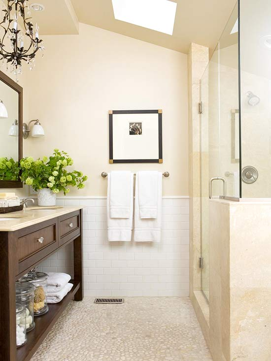 Pebble bathroom floor cottage bathroom bhg for Bathroom design 9x9