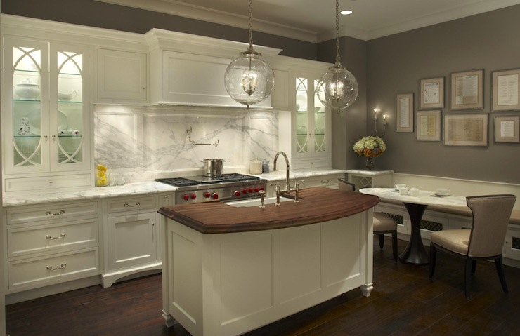 Gray center island design ideas Kitchen designs with grey walls