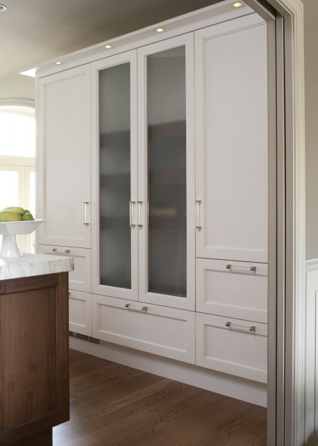 kitchen cabinets with frosted glass doors, coffee stained kitchen
