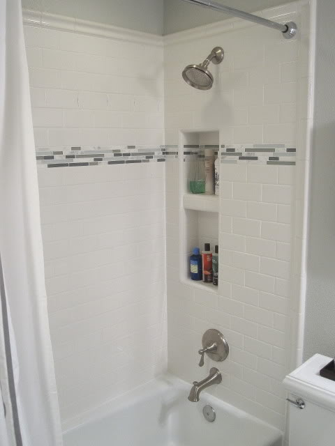 Subway Tile Shower Contemporary Bathroom Benjamin Moore Gray Owl Freckles Chick